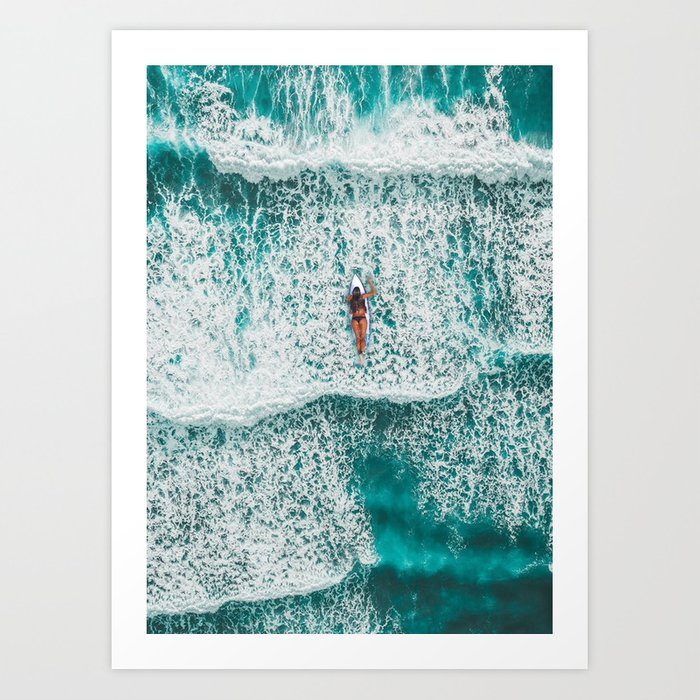 Girl Surfing Art Print