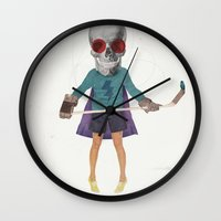 superhero Wall Clocks featuring Superhero #9 by Nazario Graziano
