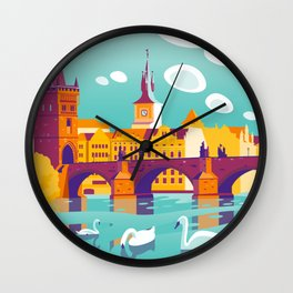 Prague and swans Wall Clock