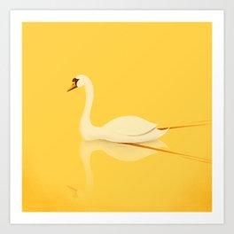 Swan Gliding Beauty Art Print