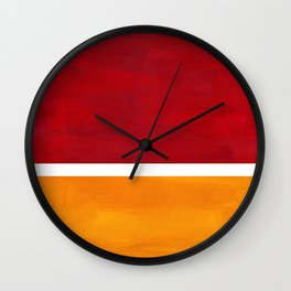 Burnt Red Yellow Ochre Mid Century Modern Abstract Minimalist Rothko Color Field Squares Wall Clock