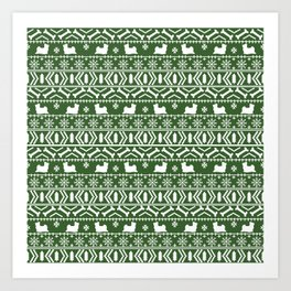 Biewer Terrier fair isle christmas green and white pattern minimal dog breed pet designs Art Print