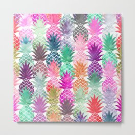 Bright exotic pineapples pastel watercolor pattern Metal Print