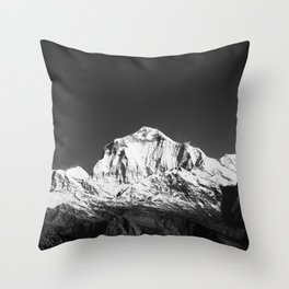 Monochrome Black and White Himalaya Mountain Range. Annapurna, Nepal. Nature Photography. Throw Pillow