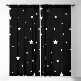 Scattered Stars - white on black Blackout Curtain