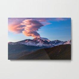 Fire on the Mountain - Sunrise Illuminates Cloud Over Longs Peak in Colorado Metal Print