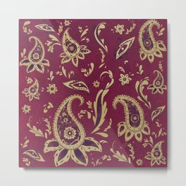 Paisley in Gold Metal Print