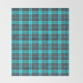 Lunchbox Blue Plaid Throw Blanket