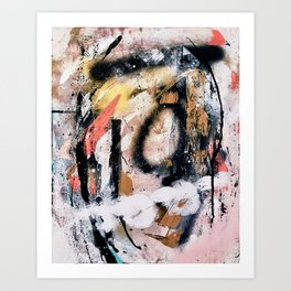 Lightning Soul: a vibrant colorful abstract acrylic, ink, and spray paint in gold, black, pink Art Print