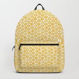 Mustard Yellow and White Hexagon Pattern Backpack