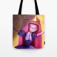 princess bubblegum Tote Bags featuring Princess Bubblegum by This Is Niniel Illustrator