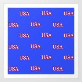 USA - Blue Art Print