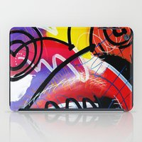 kandinsky iPad Cases featuring I Feel Fine - Whirly Swirls Splashy Aqua Turquoise Blue Red Yellow  Fine Art Abstract Painting by Mark Compton