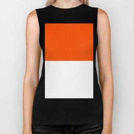 White and Dark Orange Horizontal Halves Biker Tank