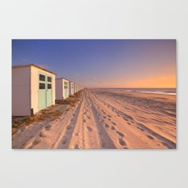 Row of beach huts at sunset, Texel island, The Netherlands Canvas Print