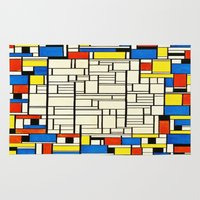 mondrian Area & Throw Rugs featuring Mondrian by PureVintageLove