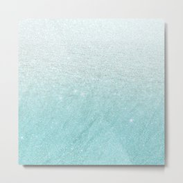 Modern chic teal pastel gradient faux glitter Metal Print