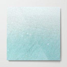 Modern chic teal pastel gradient faux glitter Metal Print
