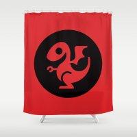 targaryen Shower Curtains featuring Modern Dragon Sigil by Arne AKA Ratscape