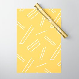 Yellow & White Abstract Lines Wrapping Paper