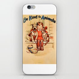 Vintage Be Kind To Animals - Girl iPhone Skin