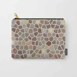 Faux Stone Mosaic in Tan Carry-All Pouch