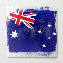Australian Distressed Halftone Denim Flag Metal Print