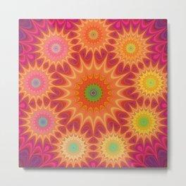 Colorful Fractal Mandala Metal Print