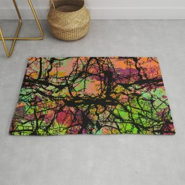 Cracks And Colour - Pastel orange, blue and green abstract with black marble effect Rug