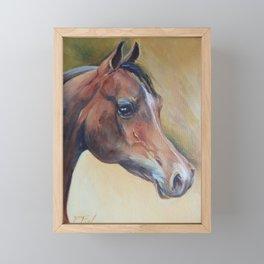 Arabian Horse portrait Brown horse head Oil painting Framed Mini Art Print