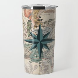 Compass Graphic with an ancient Constellation Map Travel Mug