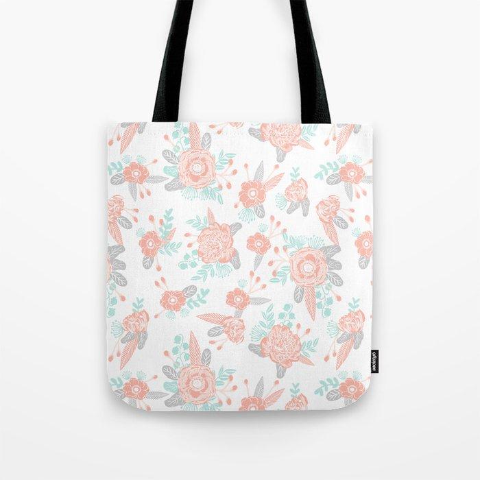 Floral bouquet pastel mint pink florals painted painted pattern basic minimal pattern print Tote Bag