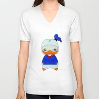 donald duck V-neck T-shirts featuring A Boy - Donald Duck by Christophe Chiozzi