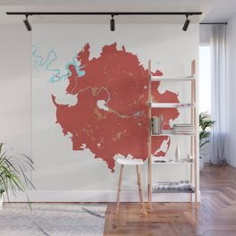 Austin Texas Minimalist Map (Peach) Wall Mural