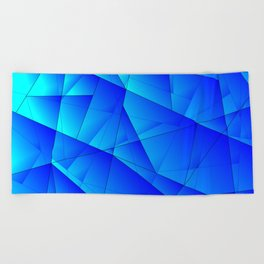 Bright sea pattern of heavenly and blue triangles and irregularly shaped lines. Beach Towel