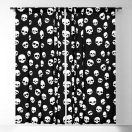White Skulls Goth Alternative Pattern  Blackout Curtain