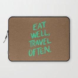 Eat Well, Travel Often on Mint Laptop Sleeve