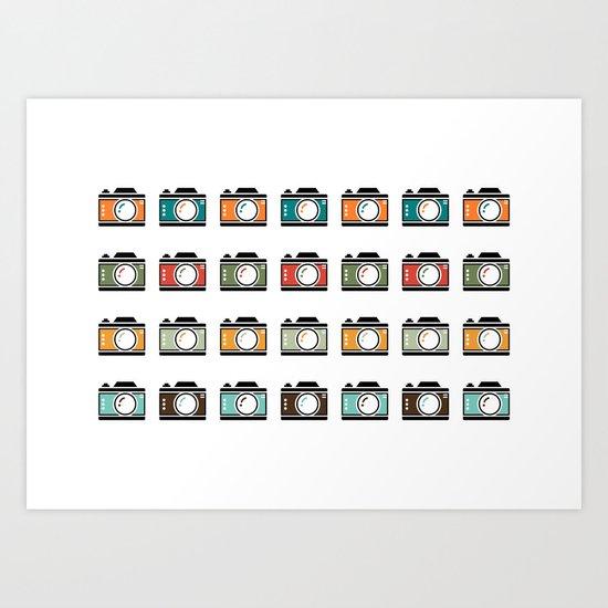 Colourful Camera Icons Art Print