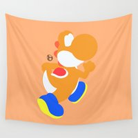 yoshi Wall Tapestries featuring Yoshi(Smash)Orange by samaran