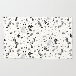 Hand painted cute black white rabbit watercolor floral Rug