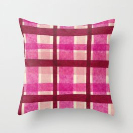 Tissue Paper Plaid - Pink Throw Pillow