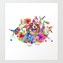 Puppy smile in flowers Art Print