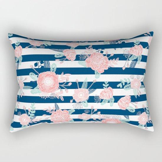 Florals bouquet navy stripe modern classic pattern print nautical preppy chic kids children college  Rectangular Pillow