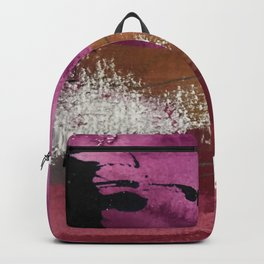 Comfort: a pretty abstract mixed media piece in gray, purple, red, black, and white Backpack