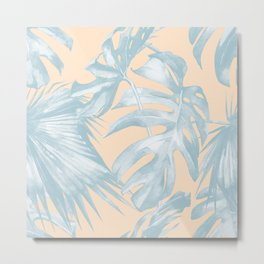 Tropical Plants Blue on Peach Coral Metal Print