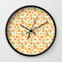 Watercolor Peaches Pattern Wall Clock
