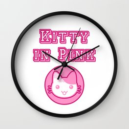 Kitty In Pink Wall Clock