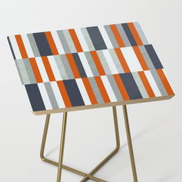 Orange, Navy Blue, Gray / Grey Stripes, Abstract Nautical Maritime Design by Side Table