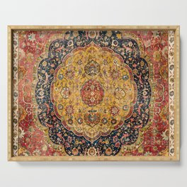 Indian Boho III // 16th Century Distressed Red Green Blue Flowery Colorful Ornate Rug Pattern Serving Tray