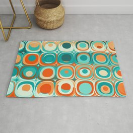 Orange and Turquoise Dots Rug